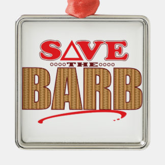 Barb Save Silver-Colored Square Decoration