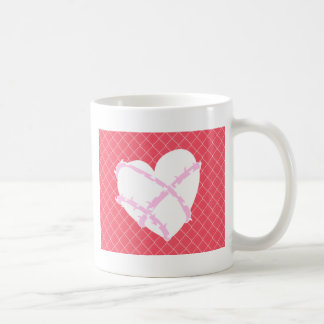 Barb Wire Heart on Chain Link Fence Basic White Mug