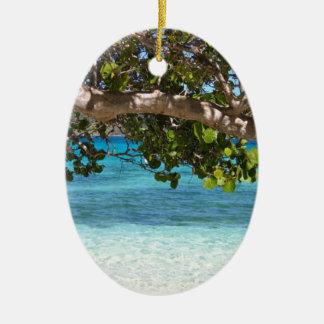 Barbados Beach Scenery Ceramic Oval Decoration