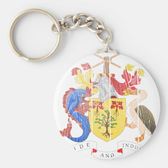 Barbados Coat Of Arms Basic Round Button Key Ring