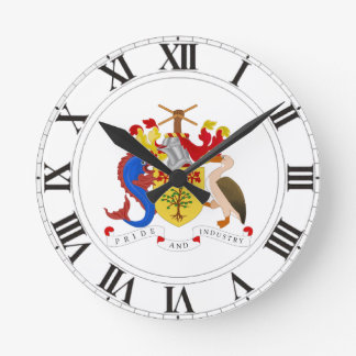 Barbados Coat of Arms Round Clocks
