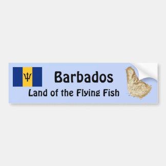 Barbados Flag and Map Bumper Sticker