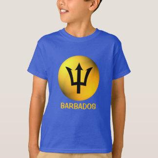 Barbados Flag Black Trident Sphere Custom Text T-Shirt