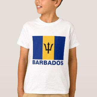 Barbados Flag Customizable Blue Text T-Shirt