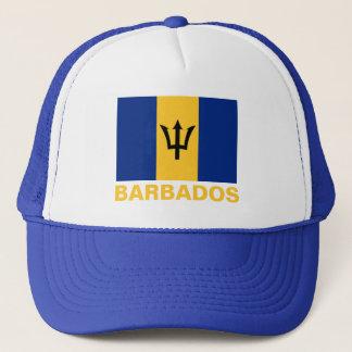 Barbados Flag Customizable Yellow Text Trucker Hat