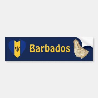 Barbados Flag Heart + Map Bumper Sticker