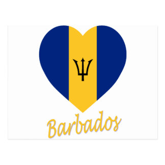 Barbados Flag Heart Postcard