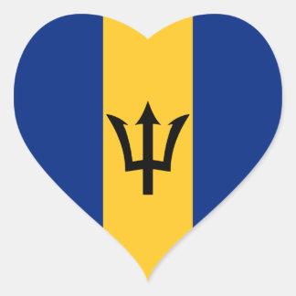 Barbados Flag Heart Sticker