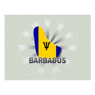 Barbados Flag Map 2.0 Postcard