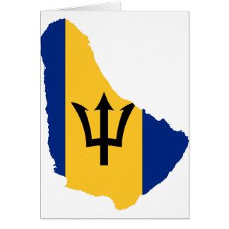 Barbados Flag map BB Card
