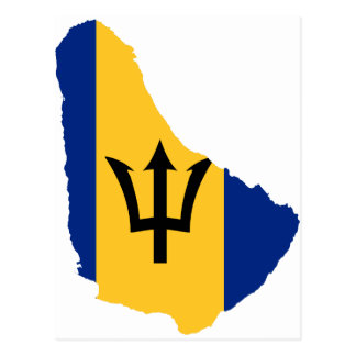 Barbados Flag map BB Postcard
