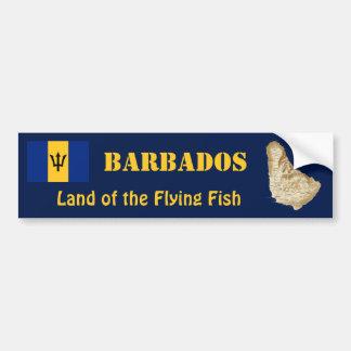 Barbados Flag + Map Bumper Sticker