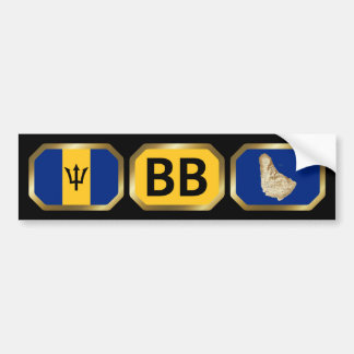 Barbados Flag Map Code Bumper Sticker