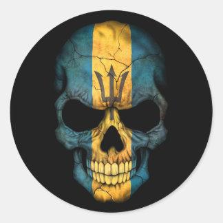 Barbados Flag Skull on Black Classic Round Sticker
