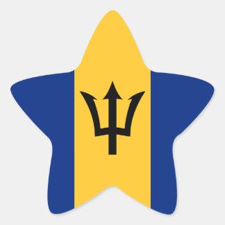 Barbados Flag Star Sticker