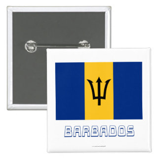 Barbados Flag with Name 15 Cm Square Badge