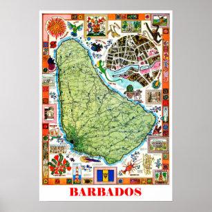 Vintage Barbados Posters Prints Zazzle UK - Tourist map of barbados