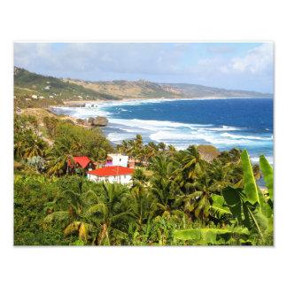 Barbados, ocean, beach, mountains, surf, tropical photographic print