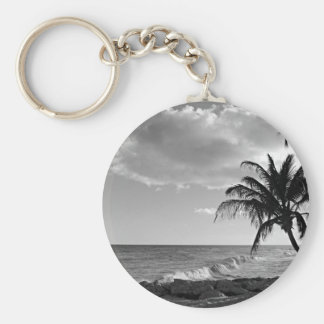 Barbados Palm Tree Beach Basic Round Button Key Ring
