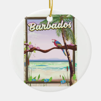 Barbados Parrot Landscape travel poster Christmas Ornament