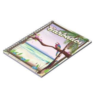 Barbados Parrot Landscape travel poster Notebook