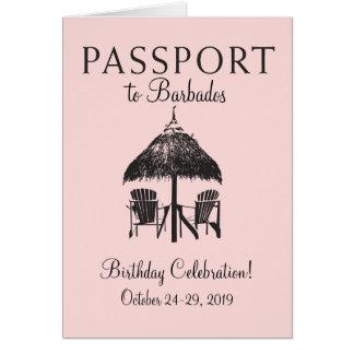 Barbados Passport Birthday Invitation Note Card