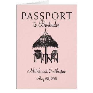 Barbados Passport Wedding Invitation Card