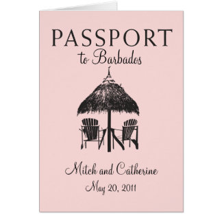 Barbados Passport Wedding Invitation Note Card