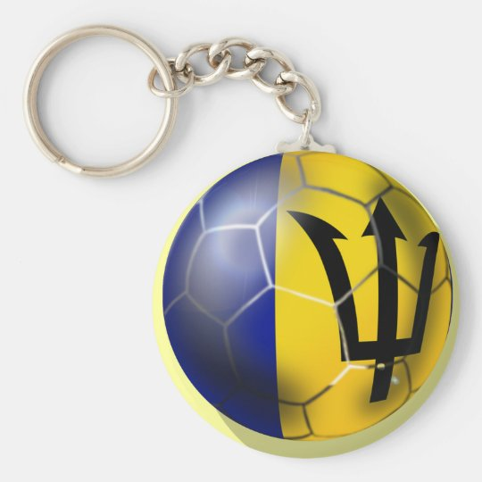 Barbados soccer football ball Bajan flag Key Ring