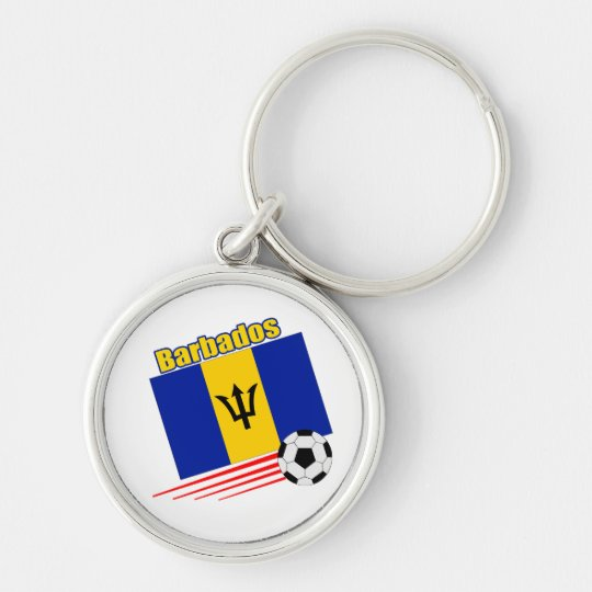 Barbados Soccer Team Silver-Colored Round Key Ring