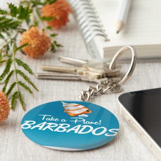 Barbados travel poster key ring