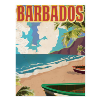 Barbados travel poster postcard