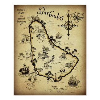 Barbados Treasure Map and Self-guided Tour Poster