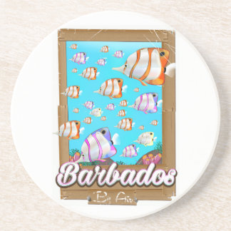 Barbados Tropical Fish travel poster Drink Coasters