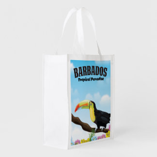 Barbados Tropical Paradise travel poster Reusable Grocery Bag