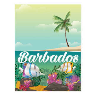 Barbados underwater travel poster postcard