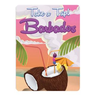 Barbados Vacation Cartoon travel poster 17 Cm X 22 Cm Invitation Card