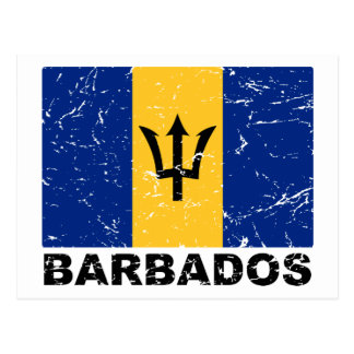 Barbados Vintage Flag Postcard