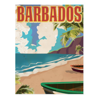 Barbados vintage travel poster postcard