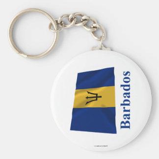 Barbados Waving Flag with Name Key Ring