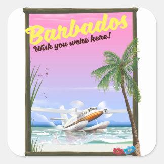 Barbados - wish you were here! square sticker