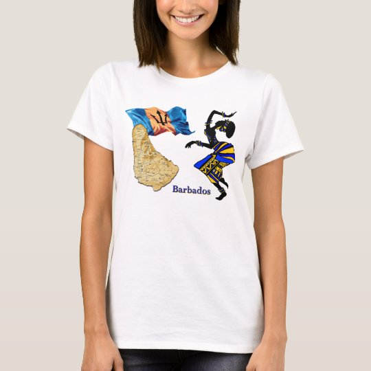 BARBADOS WOMAN T-SHIRT WITH MAP AND FLAG