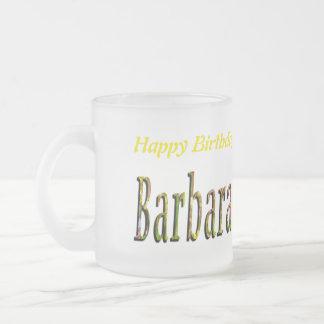 Barbara Girls Name Logo, Frosted Glass Coffee Mug