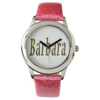 Barbara, Name, Logo, Girls Pink Glitter Watch. Watches