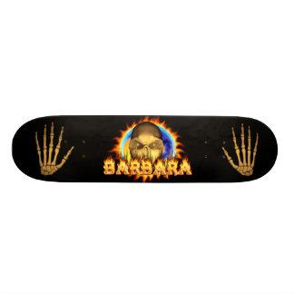 Barbara skull real fire and flames skateboard desi