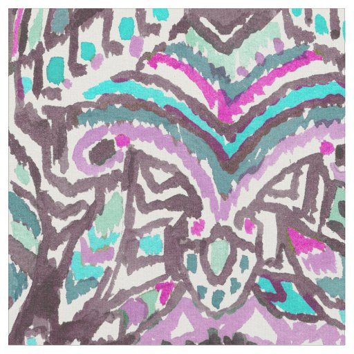 Barbarian Feather Boho Watercolor Tribal Fabric