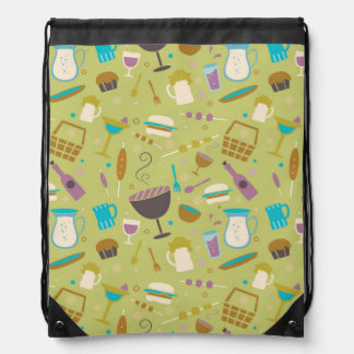 Barbecue Pattern Drawstring Bag