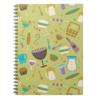 Barbecue Pattern Spiral Note Books