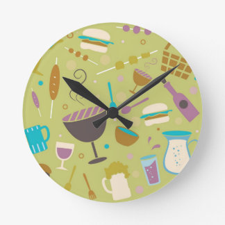 Barbecue Pattern Round Clock
