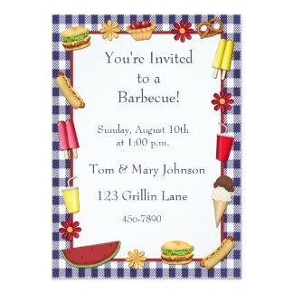 Barbecue Picnic Border Blue 13 Cm X 18 Cm Invitation Card